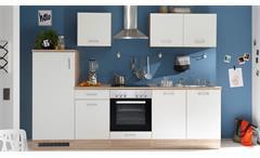 Küchenzeile WELCOME ANDY Sonoma Eiche weiß matt mit E-Geräten
