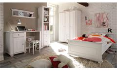 Kleiderschrank Laura Kinderzimmer Schrank Kiefer massiv in weiß 130 cm