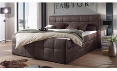 Boxspringbett Aspen Polsterbett Doppelbett Schlafzimmer in maron braun 180x200