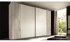 Schwebetürenschrank Store Kleiderschrank Sandeiche Dekor und weiß 4-türig 270 cm