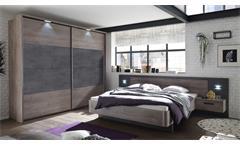 Schlafzimmer-Set Palma Brüssel Betonoxid Haveleiche Dekor Bettanlage Kleiderschrank Nachtkommoden