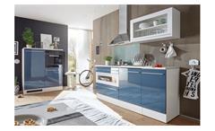 Küchenzeile JAZZ 2 Küche blau weiß Hochglanz Küchenblock
