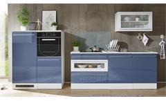 Küchenblock Jazz 2 Küche in blau weiß Hochglanz Küchenzeile Einbauküche 320 cm