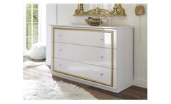 Kommode Claudia Anrichte in weiß Lack und gold Schrank Sideboard Barock Stil