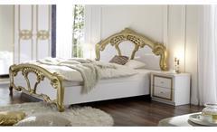 Bettanlage Claudia weiß gold Nachtkommode Bett Doppelbett Schlafzimmer Barock