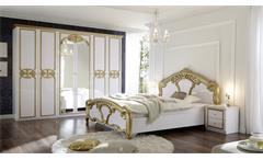 Schlafzimmer Set Claudia 3-tlg. weiß Lack gold Bett Schrank Nachtkommode Barock