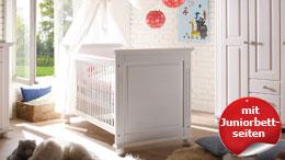 Babybett Babyzimmer Laura Gitterbett Kiefer massiv weiß Juniorbett Umbauseiten