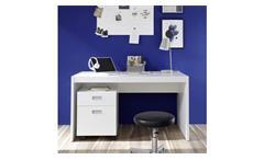 Schreibtisch Alaska weiß mit Rollcontainer Bürotisch PC-Tisch Jugendzimmer