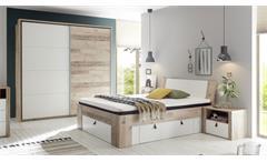 Schlafzimmer Set 140x200 Cardiff 3-tlg. Old Style hell weiß Schrank Kommode Bett