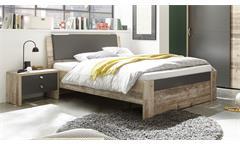 Bettanlage 140x200 Merlin Old Style anthrazit Bett Nachtkommode Jugendbett
