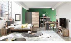 Jugendzimmer Set 140x200 Merlin 6-tlg. Old Style anthrazit Komplett Kinderzimmer