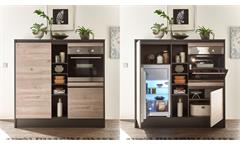 Küchenzeile Küchenblock Einbauküche Küche Lessy Ribbeck Eiche anthrazit 210 cm