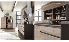 Küchenzeile Lessy Küche Eiche anthrazit Küchenblock Einbauküche 210 cm