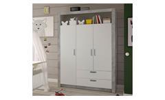 Kleiderschrank Timo Drehtürenschrank Schrank Babyzimmer Beton und weiß 137 cm