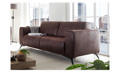 3-Sitzer Pueblo Sofa Couch Polstersofa Sitzmöbel in Stoff dunkelbraun 215 cm