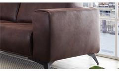 2,5-Sitzer Pueblo Sofa Couch Polstersofa Sitzmöbel in Stoff dunkelbraun 185 cm