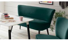 Bank RIVIA 2-Sitzer in Stoff samtweich grün massiv schwarz