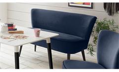 Polsterbank Rivia 2-Sitzer Bank Diningbank Stoff samtweich blau massiv schwarz