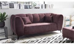 Sofagarnitur Monroe Garnitur 2,5-Sitzer 2-Sitzer Stoff aubergine Kissen 2-teilig