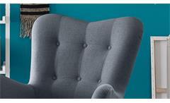 Sessel Arndt mit Hocker Fernsehsessel Relaxsessel Stoff stahl grau Eiche massiv