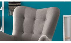 Sessel Arndt mit Hocker Fernsehsessel Relaxsessel Stoff grau Eiche massiv