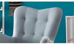 Sessel Arndt mit Hocker Fernsehsessel Relaxsessel Stoff aqua grau Eiche massiv