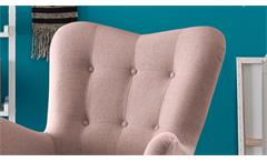 Sessel Arndt mit Hocker Fernsehsessel Relaxsessel Stoff flamingo Eiche massiv