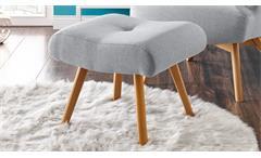Sessel Arndt mit Hocker Fernsehsessel Relaxsessel Stoff silber grau Eiche massiv