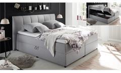 Boxbett GRANADA 2 Stoff grau mit Bettkasten 180x200 cm