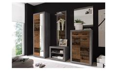 Garderoben Set Flur mit Sitzbank 5-teilig Indiana in Beton grau old wood vintage