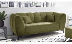 Sofagarnitur Monroe Garnitur 2,5-Sitzer 2-Sitzer Hocker olive Kissen 3-teilig