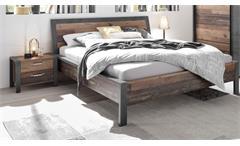 Bettanlage Schlafzimmerset Bett 2 Nachtkommoden Old Style dunkel Betonoxid Michel