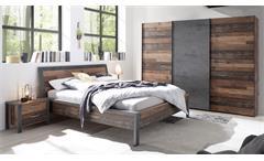 Schlafzimmerset 4-tlg Kleiderschrank Bett Nachttisch Old Style dunkel Betonoxid Michel