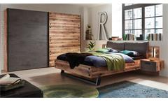 Schlafzimmerset Alpine Lodge Betonoxid LED Schwebetürenschrank Bett Dover