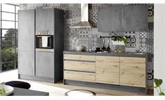 Küchenblock Küche Chromix Beton-Optik anthrazit Artisan Eiche Küchenzeile Troja