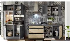 Küchenzeile Küchenblock Küche Chromix Beton-Optik anthrazit Artisan Eiche Tann