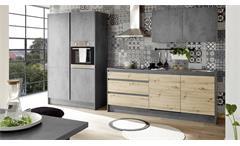 Küchenzeile mit E-Geräten Küche Chromix Beton-Optik anthrazit Artisan Eiche Troja