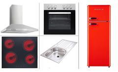 Küchenzeile mit E-Geräten weiß Sonoma Eiche Küchenschrank Hängeschrank Wow