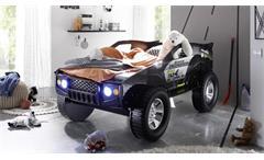 Autobett Geländewagen SUV Kinder Abenteuerbett schwarz 90x200 mit Beleuchtung