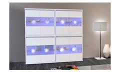 Schrank Hängevitrine Ikaras weiß Glas und LED 4er Set