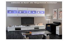 Schrank Vitrine Hängeschrank Hängevitrine Ikaras 4er Set Würfel weiß Glas LED