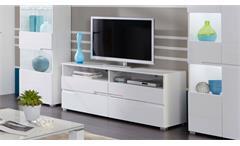 Lowboard TV-Board Schrank Spice weiß Hochglanz MDF Kommode Wohnzimmer 140 cm
