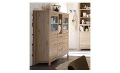 Highboard Buffetschrank Kommode Country Eiche San Remo Wohnzimmer LED 148 cm
