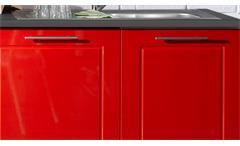 Küchenblock weiß Hochglanz Valenzia 2 Küchenzeile rot anthrazit Metall 300 cm