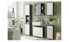 Badezimmer-Set Orlando 5-teilig Badmöbel Bad weiß Hochglanz Pinie grau 170 cm