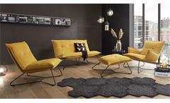 Hocker Polsterhocker Sitzhocker Fußhocker Vico Stoff senf gelb Metall schwarz