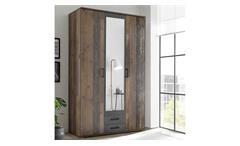 Kleiderschrank Schrank Chicago Melamin Old Style dunkel 3-türig mit Spiegeltür
