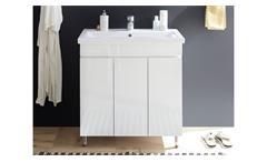 Waschbeckenunterschrank Badschrank Badezimmerschrank Tacoma weiß Lack mit Becken