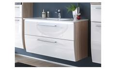 Waschbeckenschrank MIAMI Sonoma Eiche weiß Hochglanz