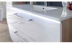 Waschbeckenunterschrank Miami Eiche Sonoma weiß Hochglanz inkl. Becken und LED